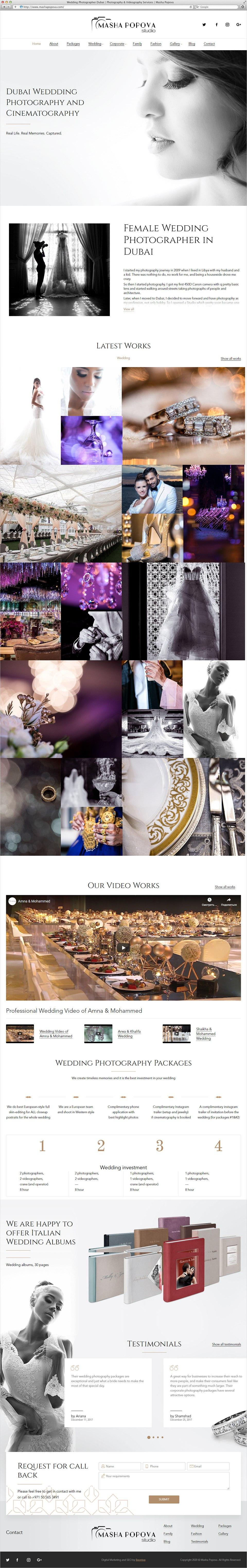 Photographer Masha Popova | Beontop Portfolio Homepage