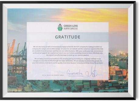 GRATITUDE FROM GREEN LINE MARINE CARGO