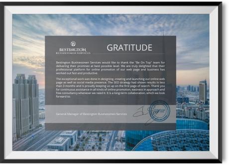 GRATITUDE FROM BESTINGTON BUSINESSMEN SERVICES